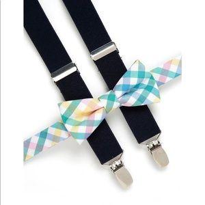 Crown & Ivy Boys 4-7 Check Bow Tie Suspender Set